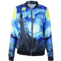 New 2014 Autumn winter Women Quality Brand Starry Night Van Gogh Digital 3D print Casual Bomber Jacket Coat Outerwear S-J012