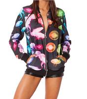 New 2014 Autumn winter Women Harajuku Jellyfish Rainbow BF Zipper Casual Bomber Jacket Coat Outerwear Digital Print S-J003
