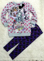 free shipping 2014 new style monster high girl's hoodie and pants leggings sets,children's clothing sets