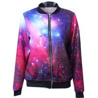 New 2014 Autumn winter Women Quality Brand Galaxy Digital 3D print Zipper Casual baseball Bomber Jacket Coat Outerwear S-J011