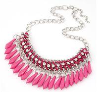 Vintage Bohemian Style 2014  New Fashion  Multilayer Tassel  Drop Weaving Statement Necklaces Silver  Chain  DFX-575