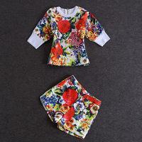 Free shipping 2014 new brand fashion women's jacquard cotton flower printed shirt Top+print shorts pant suits twinset