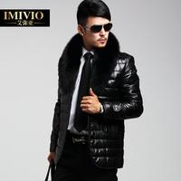 HOT SALE new brand Fox fur collar male men's genuine leather down jacket parka coat outwear  slim high quality fashion luxury