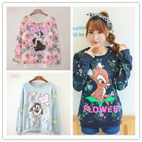 [Alice] 2014 New winter fashion hoody Flowers deer/rabbit/Lightning dog printing women's hoodies Loose women Sweatshirts