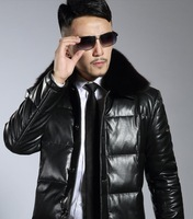 HOT SALE new Men's leather clothing male genuine leather down coat  slim thickening sheepskin short design  jacket business
