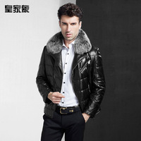HOT SALE 2014 new brand Regiufelnt men's genuine leather down jacket coat  male sheepskinmotorcycle outerwear luxury fox fur