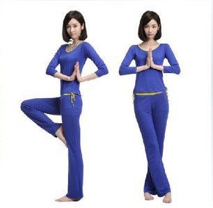 2014 Specials Yoga clothes Blue long-sleeved Sports suit women Anti-Wrinkle Breathable Fitness Apparel(China (Mainland))