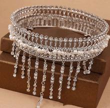 2014 Luxury European and American Handmade Round Pearl Beads Crystal Tassel Bridal Wedding Hair Crown Marriage