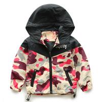 Suggest Kids height 95~130cm Retail 1pcs boys coats kids jackets girls outerwear autumn Long sleeve camouflage children clothes
