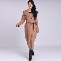 2014 Winter new long design woolen trench women's solid color hooded overcoat long-sleeve trench coat for women