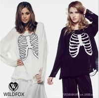 Autumn 2014 plus size women sequined sweater skeleton black and white women pollovers