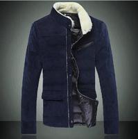 2014 Winter Jacket New Style Fashion Leisure Korean Version Of Slim Fit Men's Corduroy Coat Free Shipping Big SIze XXXL  HS37