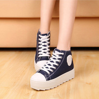 free shipping women's new high-top heavy-bottomed canvas shoes casual Korean student sports muffin bottom flats sneakers f-179