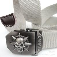 2014 South Korea Brand Skull thicken outdoor Men canvas belt,Men's Lady Joker leisure wide belt,male fashion woven military belt