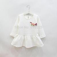 New 2014 Girls' Dresses Long Sleeve Bird Children One-piece Dress Fashion Baby Girls Dresses Kids Fall Outerwear Child Cute Wear