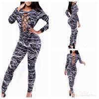 Printing style sexy nightclub pants laser Lightning Star bandage jumpsuits