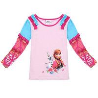 Free Shipping 2014 New Design Baby Girls Frozen T-shirts Kids Anna Princess t-shirt Baby frozen Printed tshirt Cartoon Clothing