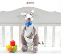 40cm plush kangaroo with blue scarf Australia kangaroo birthday gift valentine gift cute toy one piece free shipping