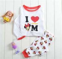 Free Shipping 2014 New Autumn Kids Printed Sleepwears Girls Minnie Pajamas Baby 100% Cotton Pijamas Pyjamas Cartoon Clothing set