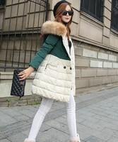 New fur collar thickening women's medium-long down winter jackets women winter coat big size winter outerwear