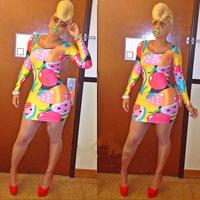 2014 women popular fashion strawberry fruit print dress sexy long sleeve mini dress