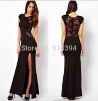 Latest Black lace Party Evening Dresses vestido curto festa sexy Hollow out split vestido de casamento curto B1132  sale on line