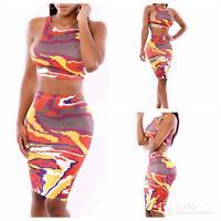 Colorful printing women's suit nightclub Slim package hip sleeveless skirt suit