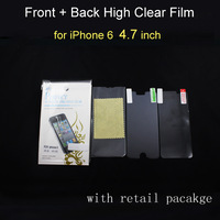 200sets/lot, Hot Ultra High Clear full body screen film protector for iPhone 6 4.7'' inch front + back with Retail