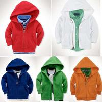 2014 Autumn Winter Children's Clothes Hoodies Boys Girls Zipper Sweatshirts Long Sleeve Kids Sweater Red White Blue Green Orange