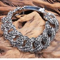 Punk fashion personality titanium steel bracelet coarse tread width double refined retro Bracelets