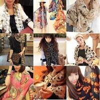 Stylish Silk Scarves Long Scarf chiffon Shawls Leopard Skull bowknot Heart ect Women's Christmas gifts Mix order 10pcs/lot