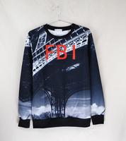 2014 HOT 3D print sweatshirts men hoodies FBI  pullover sportswear tracksuit brand  men cheaper wholesale retail