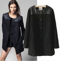 2014 new women's woolen coat European and American money in the long single-breasted woolen coat free shipping