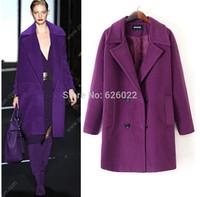 2014 NEW Winter Women's Retro Lapel Notched Collar Pockets Wool Blends Jacket Mid long Trench Coat Outwear Plus Size M - XXXL