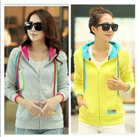 2014 new autumn and winter women's hoodies candy color Cardigans sweatshirt thick coat big size casual hoodie S-XXLfree shipping