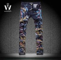 2014 New Autumn Men'S Painting Jeans Slim Skinny Stylish Denim Trousers Plus Big Size Men'S Long Pants Brand Jeans XG-0111