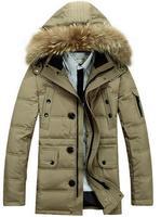 ( 90% white duck down ) Fur collar Hat Man Down Coat Winter Thicken down jacket Warm hooded coat fashion design