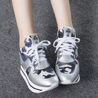 Metallic Silver Camouflage Increase Shoes Closed Toe Lace Up 3.3cm Platform PU Women Fashion Sneakers