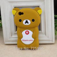 10Pcs/Lot 3D Rilakkuma Bear Silicone Cover Phone Case Skin Protector For Apple Iphone 4 4S Wholesale