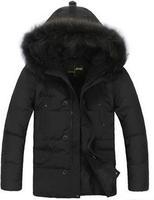 (white duck down ) Fur Collar Men's Down Coat male Winter down long jacket Warm Outwear big fastener