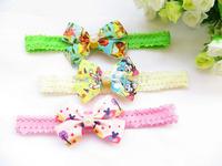 "mix colors Mickey Princess 8cm 3.5"" bow Baby  children Hairbands Girls ribbon Elastic Hair Bands  Headband  New Style"
