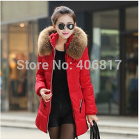 2014 New Arrival Women duck down jacket fashion faux fur hooded Knit cuffs Slim zipper raccoon thickening coldproof down coat