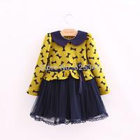 Autumn New Bow Kids Dress Kids clothes Baby girls dress Baby Girls Clothes vestidos infantis, vestidos de menina red yellow
