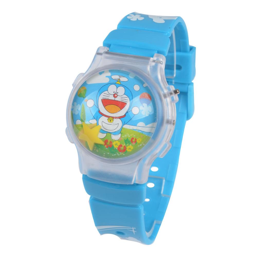 HOT sale high quality blue Doraemon Cartoon Watches Children fashion 3D Round Dial Kid wrist Watch(China (Mainland))