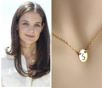 9mm Initial Disc Necklace, Celebrity Inspired Charm Necklace, Engraved Letter Necklace, 14K Gold Filled or    Personalized