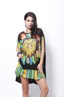 Casual Dress O-neck Special Offer Natural Vestido Vestidos Femininos 2014 Spring And Summer Sun Printed Spell Big Yards In Women