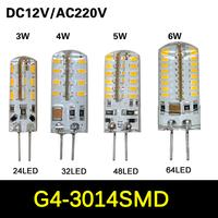 SMD 3014 G4 3W 4W 5W 6W LED Crystal lamp light DC 12V / AC 220V Silicone Body LED Bulb Chandelier 24LED 32LED 48LED 64LEDs
