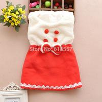 New 2014 Winter Baby Girl Clothing, Sleeveless Infant Fleece Lace Dresses, Kids Princess Warm Dress Vest Dress, Pink Red   F2