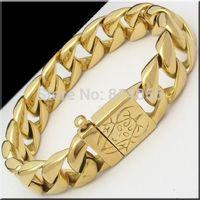 Korean fashion fine jewelry gold punk single grade stainless steel silver shiny titanium steel men's bracelet lines