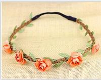 free shipping 3pcs=1 lot women fashion hair band +total length 45CM +flower diameter is 1.8 CM